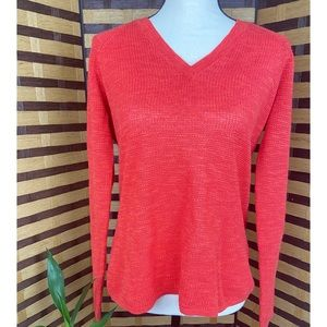 Eileen Fisher Orange V Neck Knit Pullover Sweater